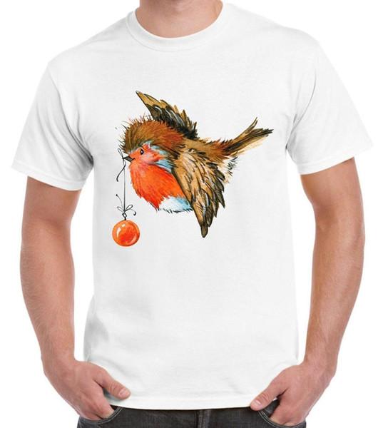 Рождество Робин с Bauble симпатичные мужская футболка