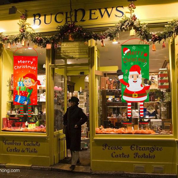 Fabric Christmas Banner Pendant Santa Deer Snowman Tree Ornaments Shop Door Restaurant Wall Hanging Flag