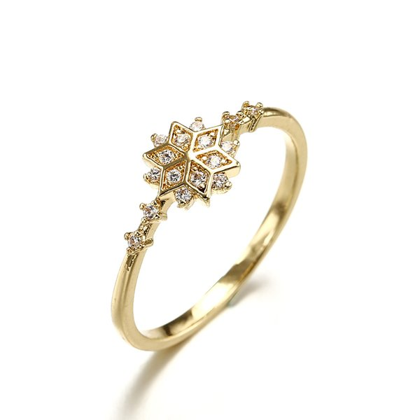 Fashion Jewelry Rose Gold Plated CZ Crystal Diamond Snow Flower Rings Women's Wedding Ring
