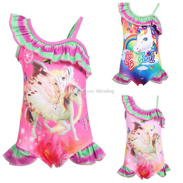 Children Swimwear baby girls rainbow Unicorn print swimsuit 2019 summer fashion Bikini Kids One-Pieces C6120
