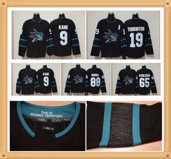 low priced d241f ed73f 2019 Black San Jose Sharks NHL Jersey 65 Erik Karlsson 9 Evander Kane 88  Brent Burns 8 Joe Pavelski 19 Joe Thornton Stitched Hockeys From Slinesten,  ...