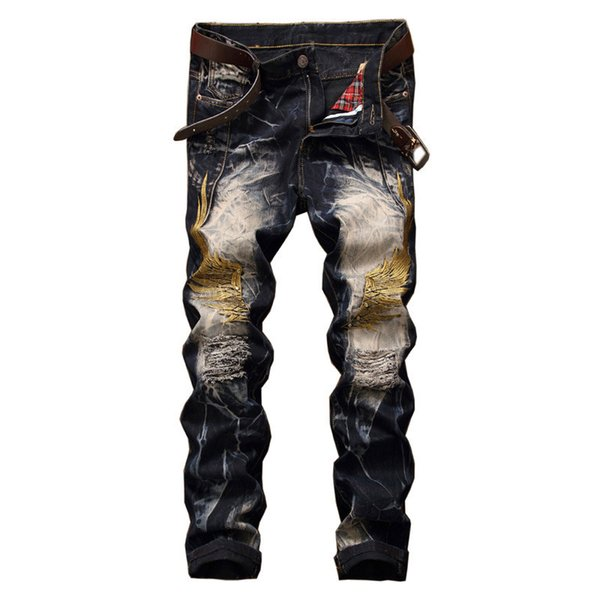 Mens Embroidered Jeans Retro Ripped Slim Skinny Distressed Vintage Denim Pants Summer Casual Black Gold Trousers