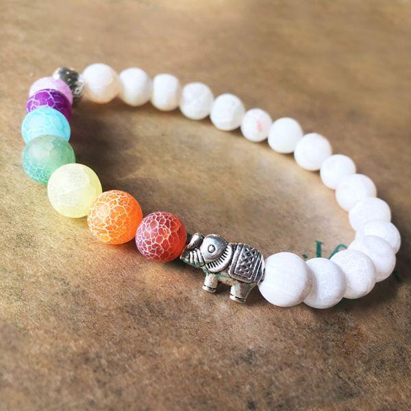Fashion 8 mm Multicolor Chakra Mala Beads Energy Bracelet