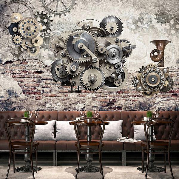 Creativo moderno retro del engranaje mecánico Telón de fondo de la vendimia pared 3D estéreo mural del papel pintado del restaurante personalidad decoración de papel de pared 3D