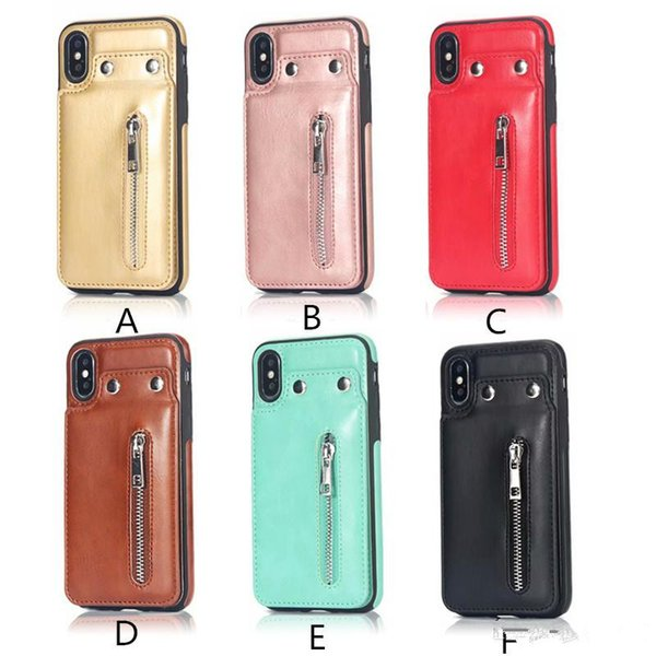 PU Flip Leather Wallet Case Zipper Design Case Cover with Button For iPhone X 8 7 6 Plus