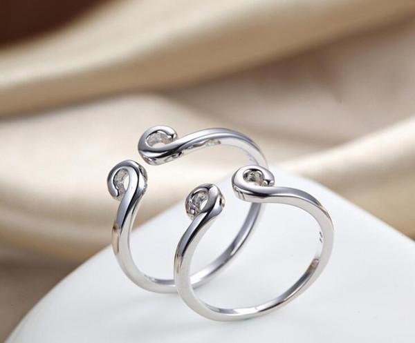 Mode Femmes Hommes Amoureux Inhibitions Bagues S925 Argent Sterling Rétro Couple Bague Bague Pour Toujours Amour Mariage Birhday Party Bijoux Cadeaux