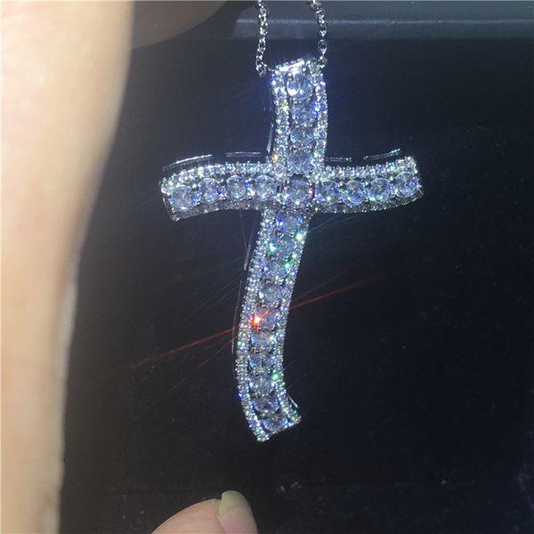 Vecalon Vintage Big Cruz pingente de prata esterlina 925 5A Cz Pedra Across Pingente de colar para As Mulheres Homens Festa de Casamento Jóias