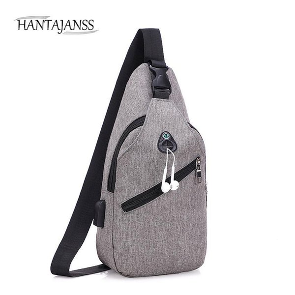 HANTAJANSS Men Chest Bag Nice NEW USB Charging Crossbody Mens Messenger Bag Sling Bags Summer Casual Travel Shoulder Handbags