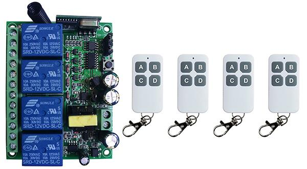 Smart Home AC110V 220V 230V 4CH 4 CH Wireless Remote Control LED Light Switch Relay Output Radio Receiver Module+Transmitter