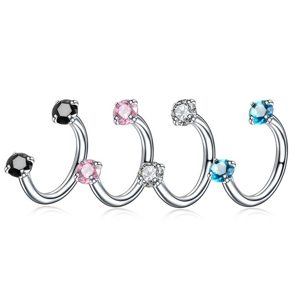 10sets/bulk Stainless Steel Ear Bone Nails Micro-inlaid Zircon Ear Studs Horseshoe Ring U-shaped Nose Nails Body Piercing Jewelry