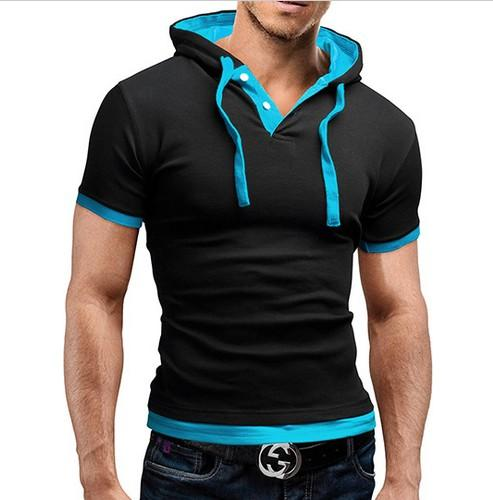 Camiseta de los hombres de verano casual camisetas con capucha de la venta caliente de manga corta camiseta homme slim fit elástico brand clothing masculina camiseta