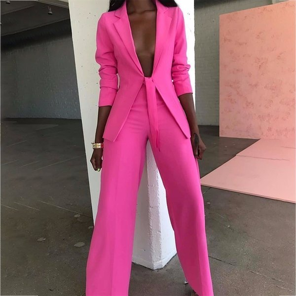 Ohvera Bow Ladies Suit Women Suits Office Sets Casual Blazer And Pants Set Formal Two Piece Set Terno Feminino J190616