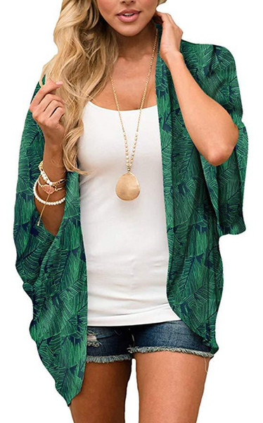 Frauen Flowy Chiffon Kimono Cardigan Boho Stil Strand vertuschen beiläufige lose Top (grün) Größe (S-XL)