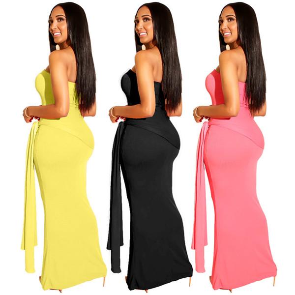 Les femmes sexy robes maxi robes de bandage sans bretelles couleur unie sans manches dos nu les vêtements d'été robe de mode maigre épaule 124
