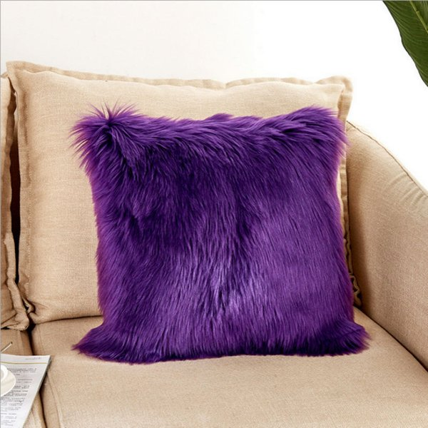 40 * 40 cm Único lado macio Faux lã lavável almofada quente peludo assento travesseiro longo almofada de pelúcia para o escritório do carro cadeiras sofás sem travesseiro