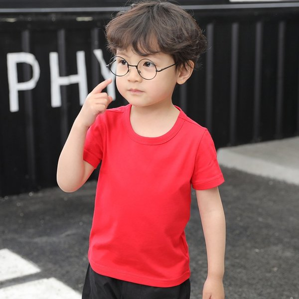 Children's cotton short sleeve T-shirt 2019 summer round collar red solid color