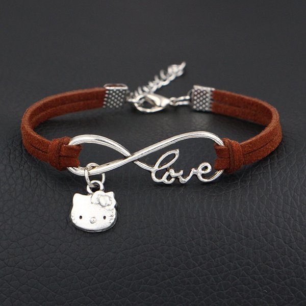 Boho Infinity Love Hello Kitty Cat Jewelry For Women Men Fashion DIY Handmade Brown Leather Suede Bracelets & Bangle Vintage Party Wholesale