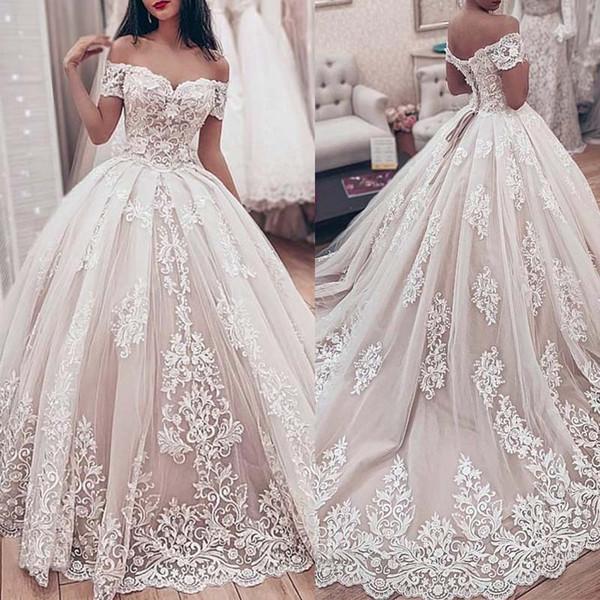 Luxe dentelle robe de bal robe de mariée chérie Le mariage Off épaule robe lacent Appliques Robes de mariée Retour musulmans