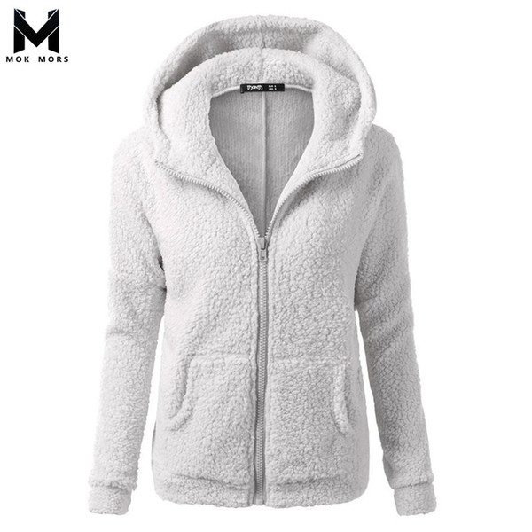 Cross-border Hot Sale Explosions Women's Autumn And Winter Solid Color Hooded Long-sleeved Zipper Cardigan Sweaters Jacket
