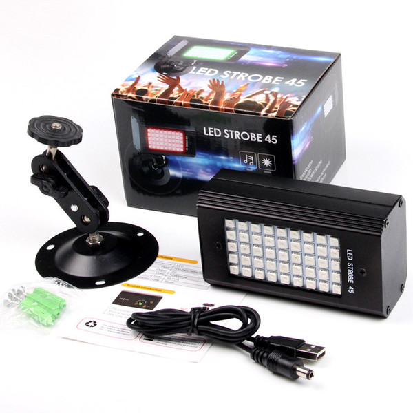 RGB 7 Colors 45 LED Strobe Light stroboscopes DJ Disco Sound Activated Projector Flash Stage Lighting Effect Lamp Party Light
