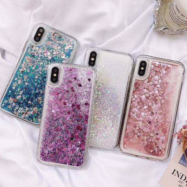 Iphone XS XR Durumda Lüks Glitter Bling Cep Telefonu Kılıfları TPU Sert PC Arka Kapak Koruyucu Rhinestone Elmas Durumda