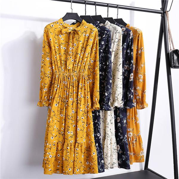 2019 Spring Summer Women's Dress For Ladies Long Arm Polka Dot Vintage Chiffon Shirt Midi Dress Casual Black Floral Dress Ds60 Y19071001