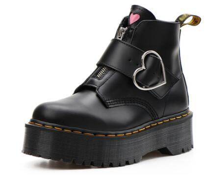 Genuine Leather women designer shoes pink heart button Martin boots thick sole zip ankle boot Motorcycle boots