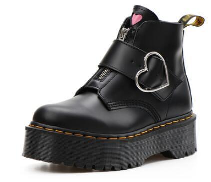 Gerçek Deri kadın ayakkabı tasarımcısı pembe kalp düğmesi Martin botları kalın taban fermuarlı ayak bileği çizme Motosiklet botları