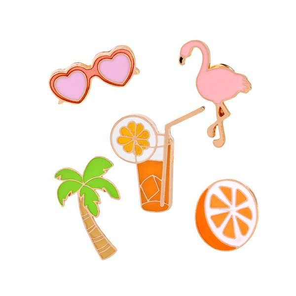 Coconut Orange Juice Heart Sunglasses Pink Flamingo Brooch Lapel Pin For Shirt Collar Jacket Packet Bag Jewelry