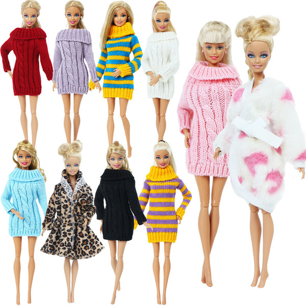 best selling Handmade Multicolor Mini Knitted Sweater Fur Coat Doll Accessories Tops Dress Casual Wear Clothes for Barbie Doll Kids Toy