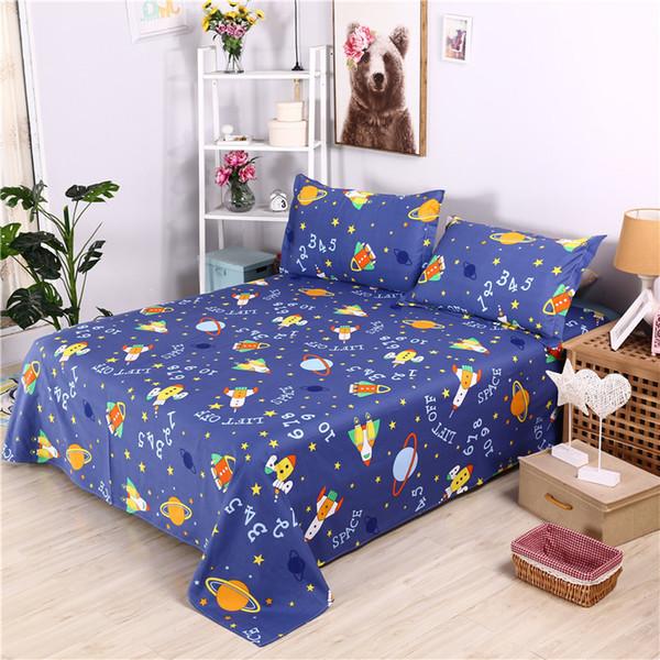 New Cartoon Space Lift Off Printed Flat Sheet Boy Girls Pure Cotton Bed Sheet Twin Full Queen King Size Children Mattress Covers
