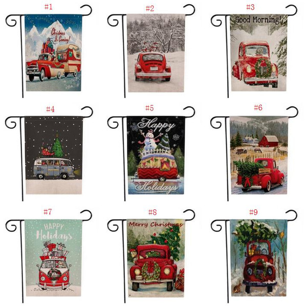 Christmas Garden Flag House Yard Flags with Red Truck Vintage Seasonal Outdoor Flag Winter Garden Yard Decorations 9 Designs SN632