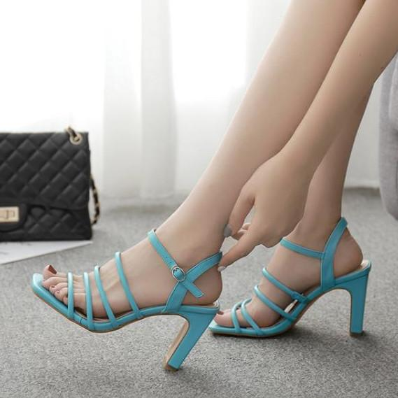 Elegant blue slim strappy squared toe thick high heel sandals fashion luxury designer women shoes size 35 to 40