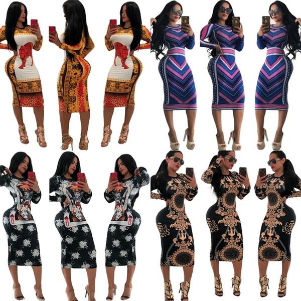 Impression Stripe Léopard Robe Pour Femmes Jupe D'été Serré À Manches Longues Robes Multi Couleurs Mode Bardian Populaire 28mz D1