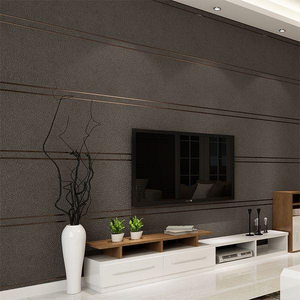 Simple moderne Suede Marble Stripes Fond d'écran pour les murs Rouleau Papel De Parede 3D non-tissé bureau papier mural Salon Chambre