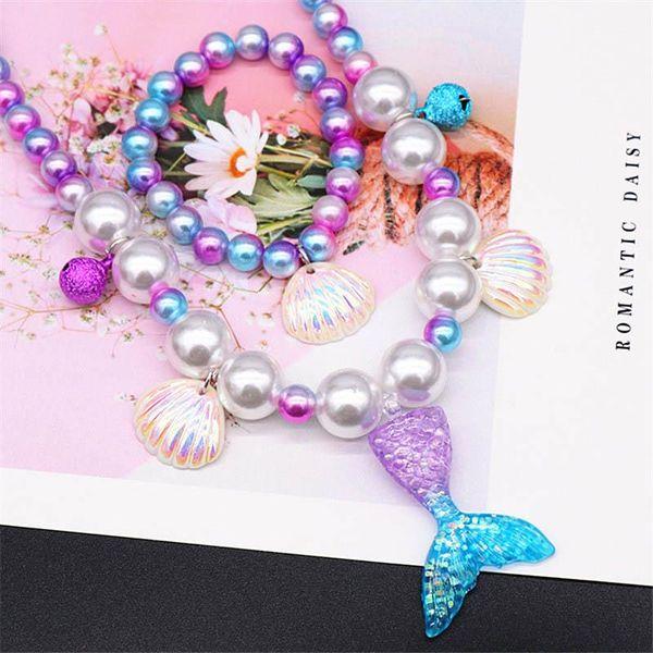 In Mermaid Mädchen Halskette Schmuck Muschel Mädchen + Armband + Ohrringe + Ring 4pcs / Ring Satz Art und Weise Mädchen Ohrclip Kinder