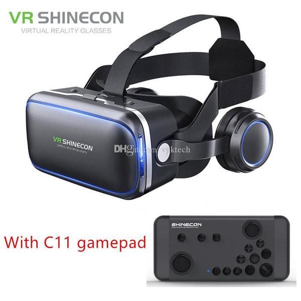 Аутентичные Shinecon 6.0 Pro VR гарнитура стерео виртуальной реальности смартфон 3D очки Google BOX VR гарнитура с пультом дистанционного управления для Android