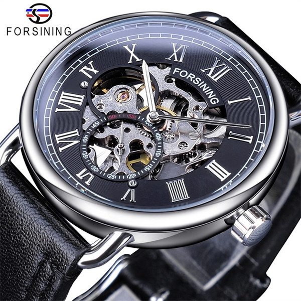 Forsining Classic Silver Case Black Genuine Leather Band Roman Number Waterproof Design Mens Mechanical Watches Luxury Hollow Skeleton Watch