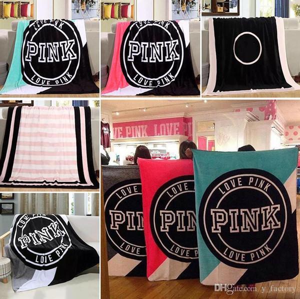 Love Pink Letter Decke 130 * 150cm Soft Coral Velvet Strandtuch Decken Klimaanlage Teppiche Bequemer Teppich