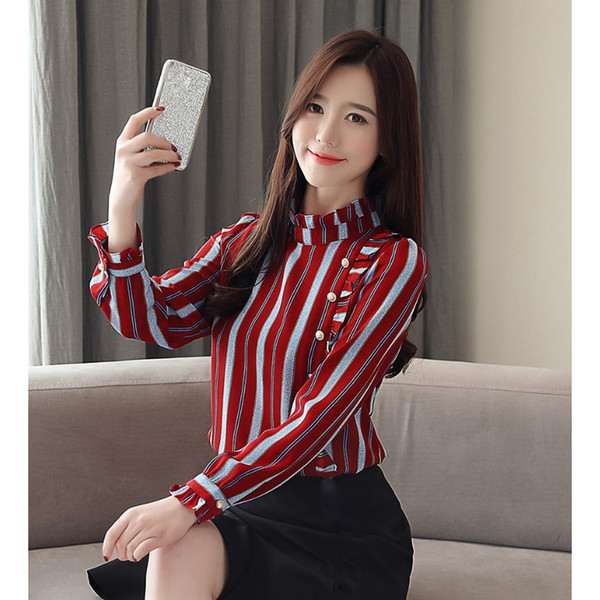 2019 Fashion Woman Striped Blouses Vintage Ruffle Chiffon Blouse Ruffles Long Sleeve Office Lady Shirts