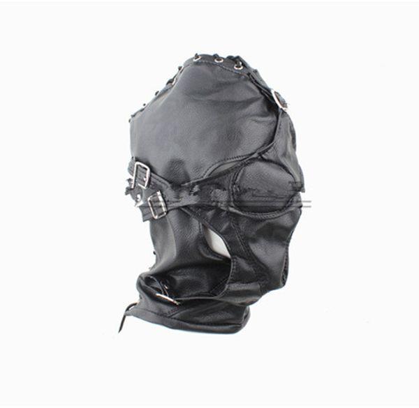 Black Faux Leather BDSM Sex Party Hood Bondage Gear Hoods Slave Head Masks Erotic Play Fetish Adult Toys for Lady HMHD-1002