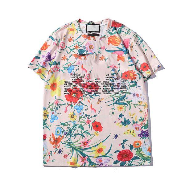 2019 diseñador para hombre camisetas marca de moda floral carta impresión blusas camisetas casuales de verano de manga corta con cuello en O camiseta S-2XL de calidad superior
