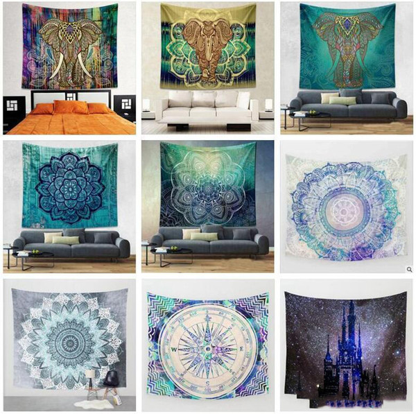 top popular 44 Styles 150*130cm Tapestries Bohemian Mandala Beach Tapestry Hippie Throw Yoga Mats Towel Elephant Polyester Beach Shawl 20pcs 2021