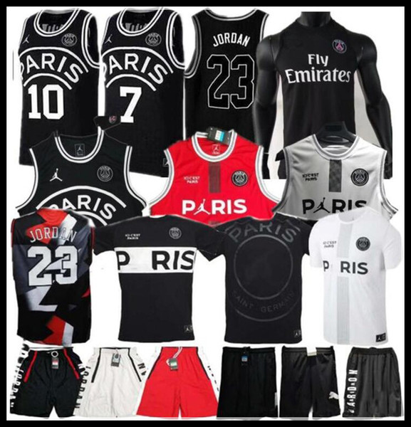 2019 PSG Paris Basketball Trikot 23 Michael JD MBAPPE Paris Basketball Trikots PSG X AJ Basketball Jordam Paris Saint Fußball Trikot Maillot