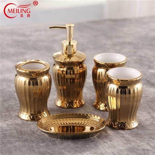 Grosshandel Luxus Gold Bad Accessoires Set Keramik Zahnburstenhalter Seife Zahnpastaspender Wc Speicherorganisator Fur Wohnkultur Y19061804 Von