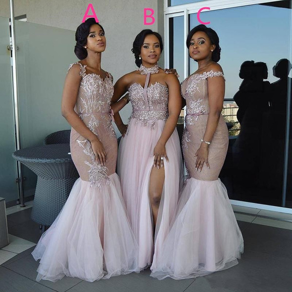 top popular Mixed Style Long Bridesmaid Dresses 2020 Floor Length Lace Appliques Sash Robe De Soiree African Nigerian Prom Wedding Guest Dress 2021