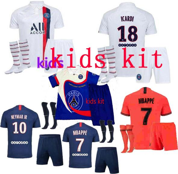 best selling 19 20 Paris kids kit soccer jersey maillot 19 20 AJ mbappe ICARDI Enfant Maillot de foot uniform Paris air Jordam football shirt kit