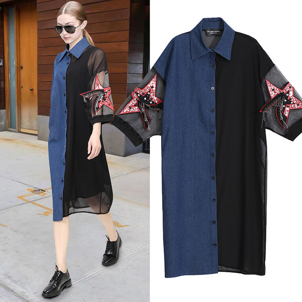 2019 Summer Women Black Shirt Dress Denim Organza Patchwork Half Sleeve & Star Plus Size Patches Lady Mid Party Club Dress F287