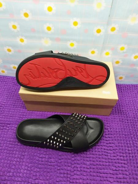 Tasarımcı Kırmızı Alt Terlik Erkek Siyah Hakiki Deri Spike Ile Yaz Çevirme, lüks Sandalet Erkekler Için Rahat Plaj Ayakkabı kayma