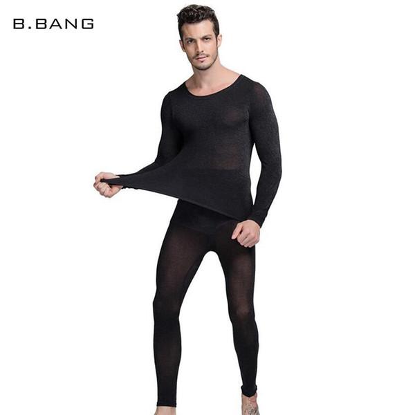 B.BANG Chaude Hiver 37 Degrés Hommes Sous-Vêtements Thermiques Ensemble Ultra-mince Chaleur Longue Jeans Haute Élastique Costume Chaud Taille Libre